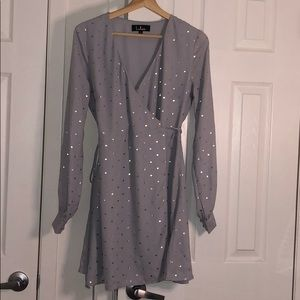 LuLus Long Sleeve Pale Blue Gold polka dots dress